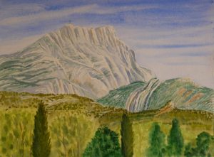 Mt.St.Victoire Aquarel 30x40 ter plaatse gemaakt in mei 2016