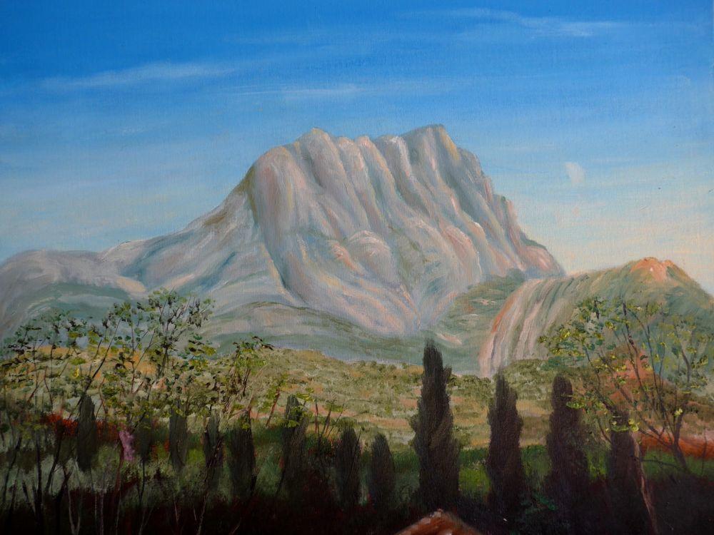 Montagne St.Victoire Olieverf op canvasboard 40x50 cm. ter plaatse gemaakt in mei 2016